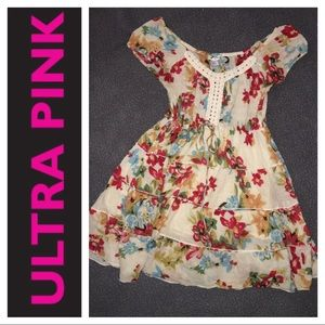 Dresses & Skirts - UP ULTRA Pink floral peasant summer dress